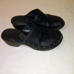 Born Leather Black Clogs